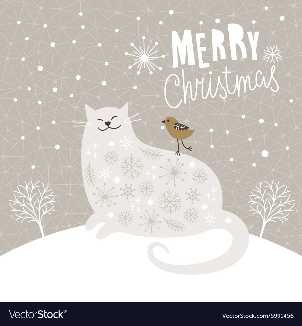 Christmas card with big cat and little bird