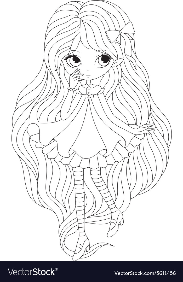 Coloring book page - girl elf Royalty Free Vector Image