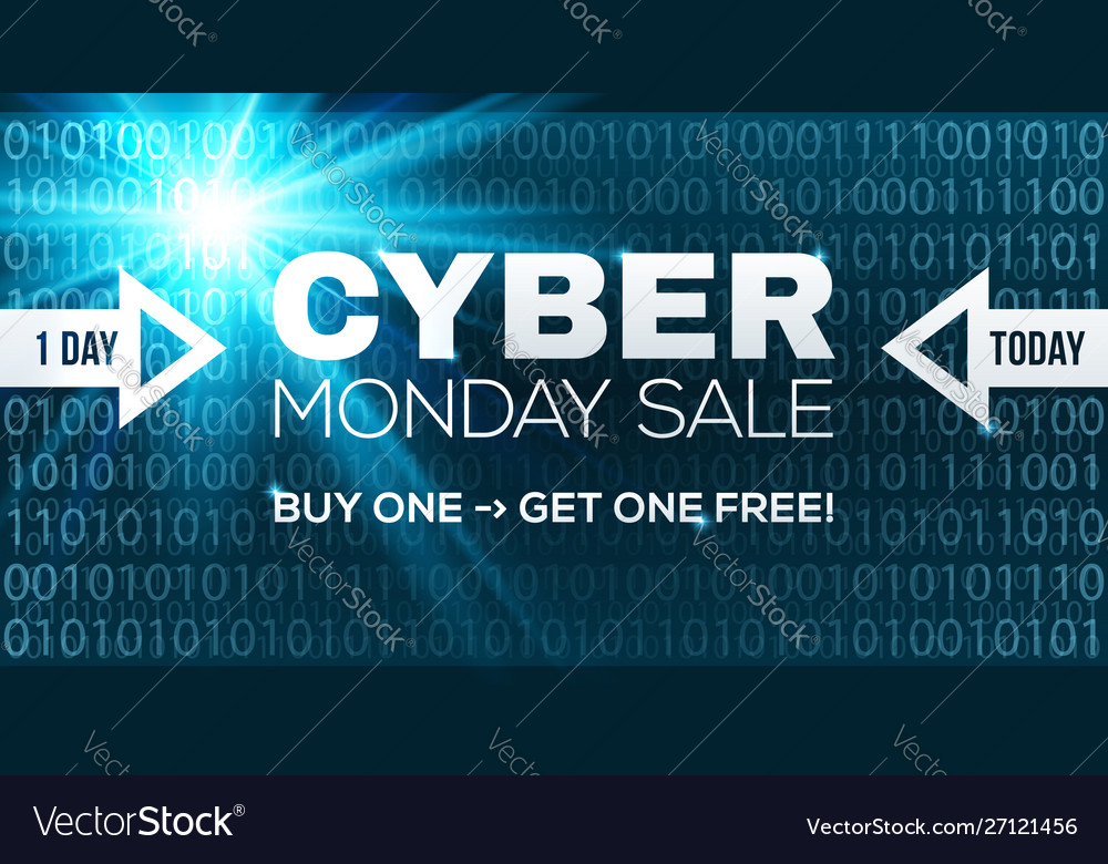 Cyber monday sale banner template blue