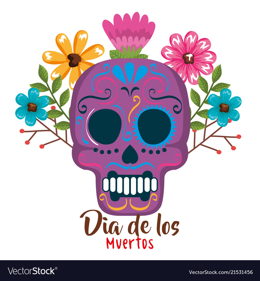 Day Of The Dead Mask With Floral Decoration Vector Image