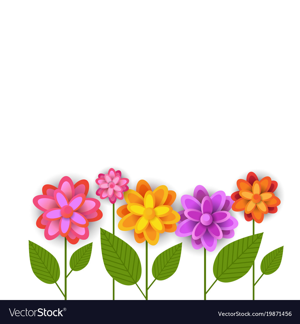 Floral spring white background colorful flowers on floral spring white background colorful flowers on vector image mightylinksfo