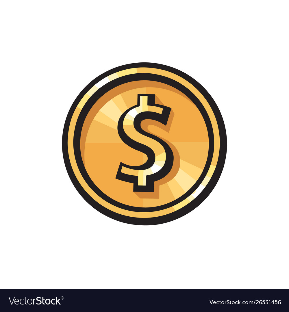 Gold coin with dollar sign icon usd currency