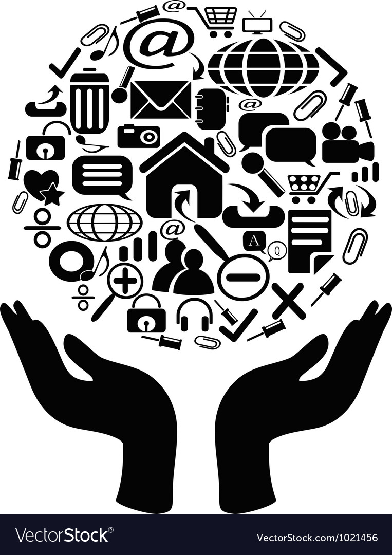 Hands holding icons vector image