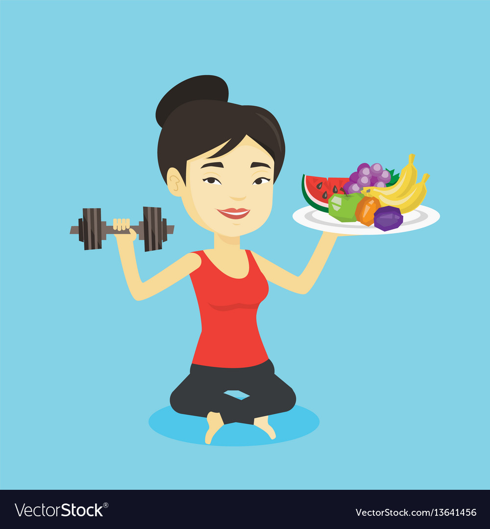 Healthy woman with fruits and dumbbell