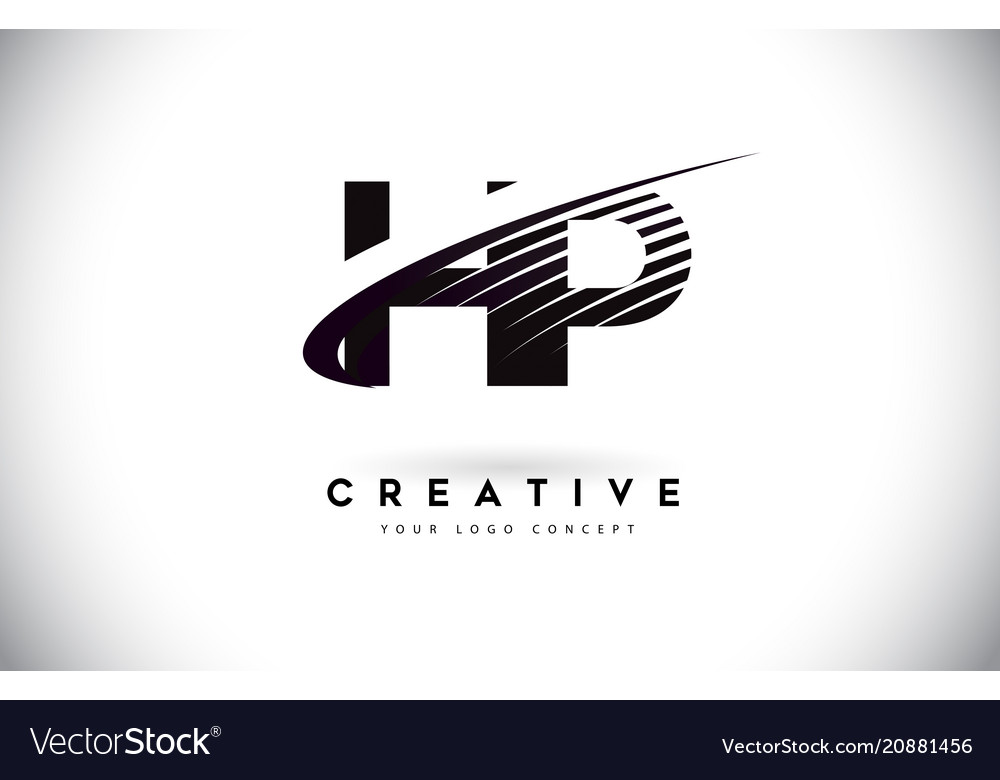 Hp h p letter logo design with swoosh and black