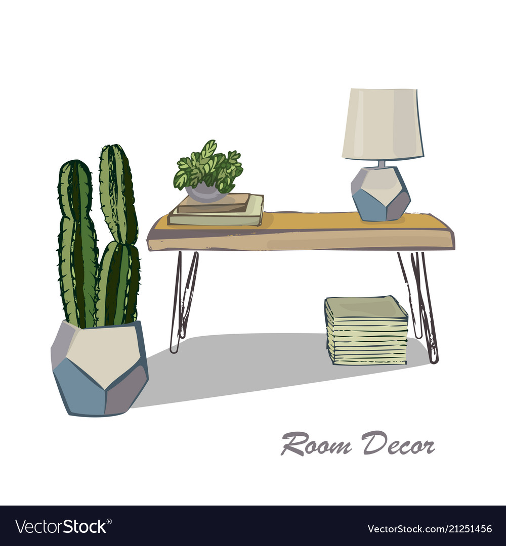 Interior Design Sketch Flat Modern Elements Vector Image