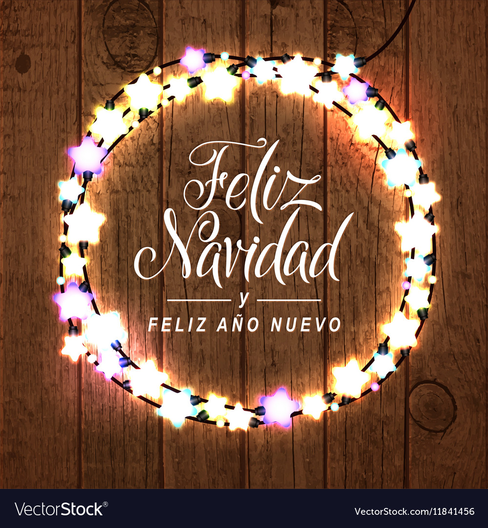 Merry Christmas Happy New Year Spanish Card