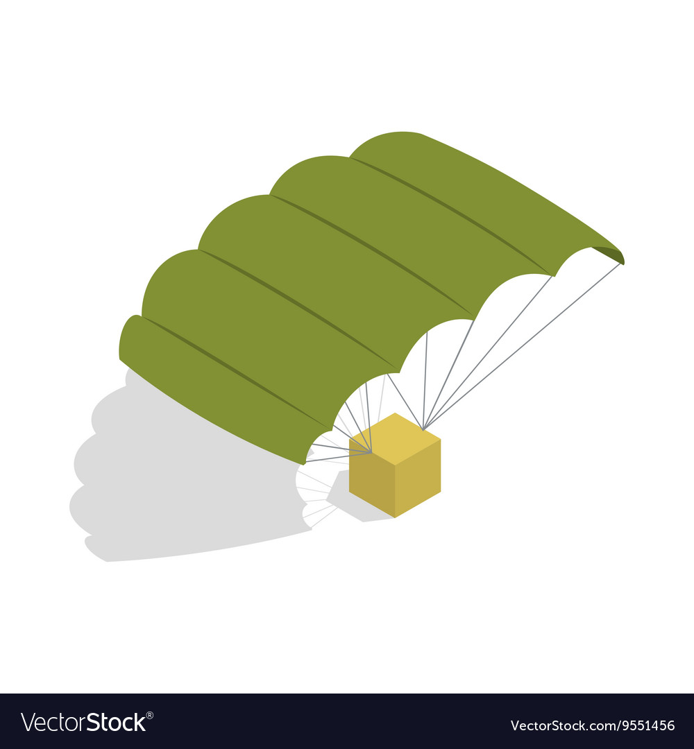 Military parachute icon isometric 3d style