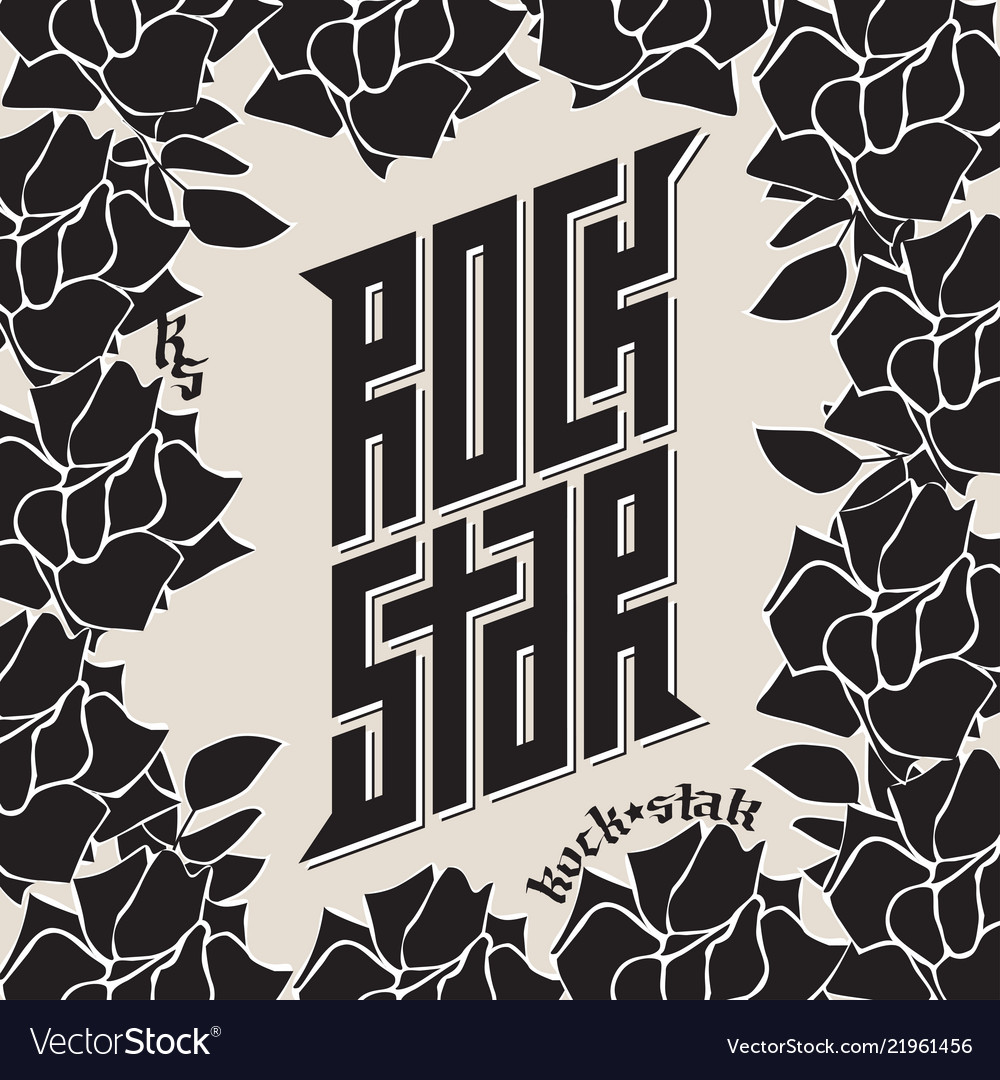 Rock star - tattoo music poster or band label