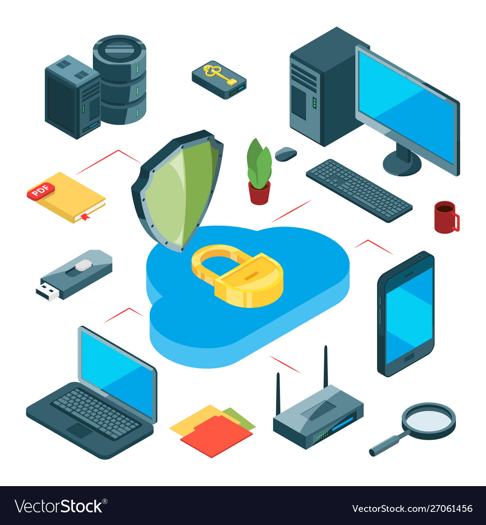 Secure cloud storage isometric data storage
