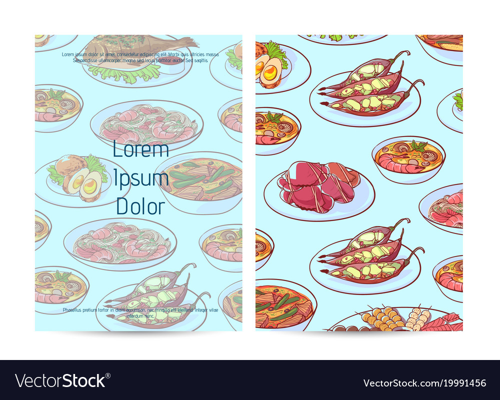 Thai food restaurant menu cover with asian dishes vector image