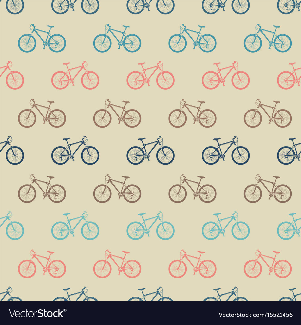 Vintage colorful bicycle seamless pattern