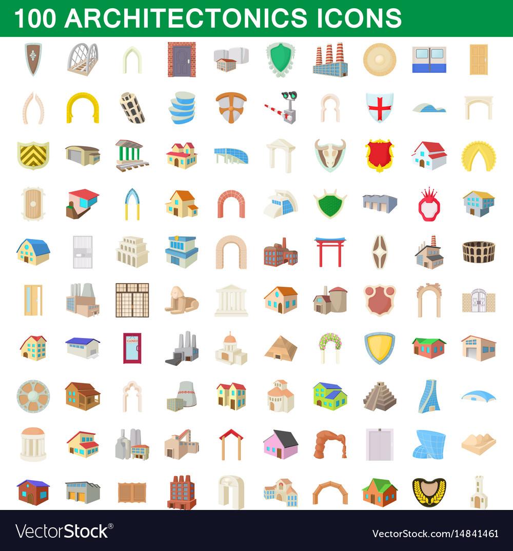 100 architectonics icons set cartoon style