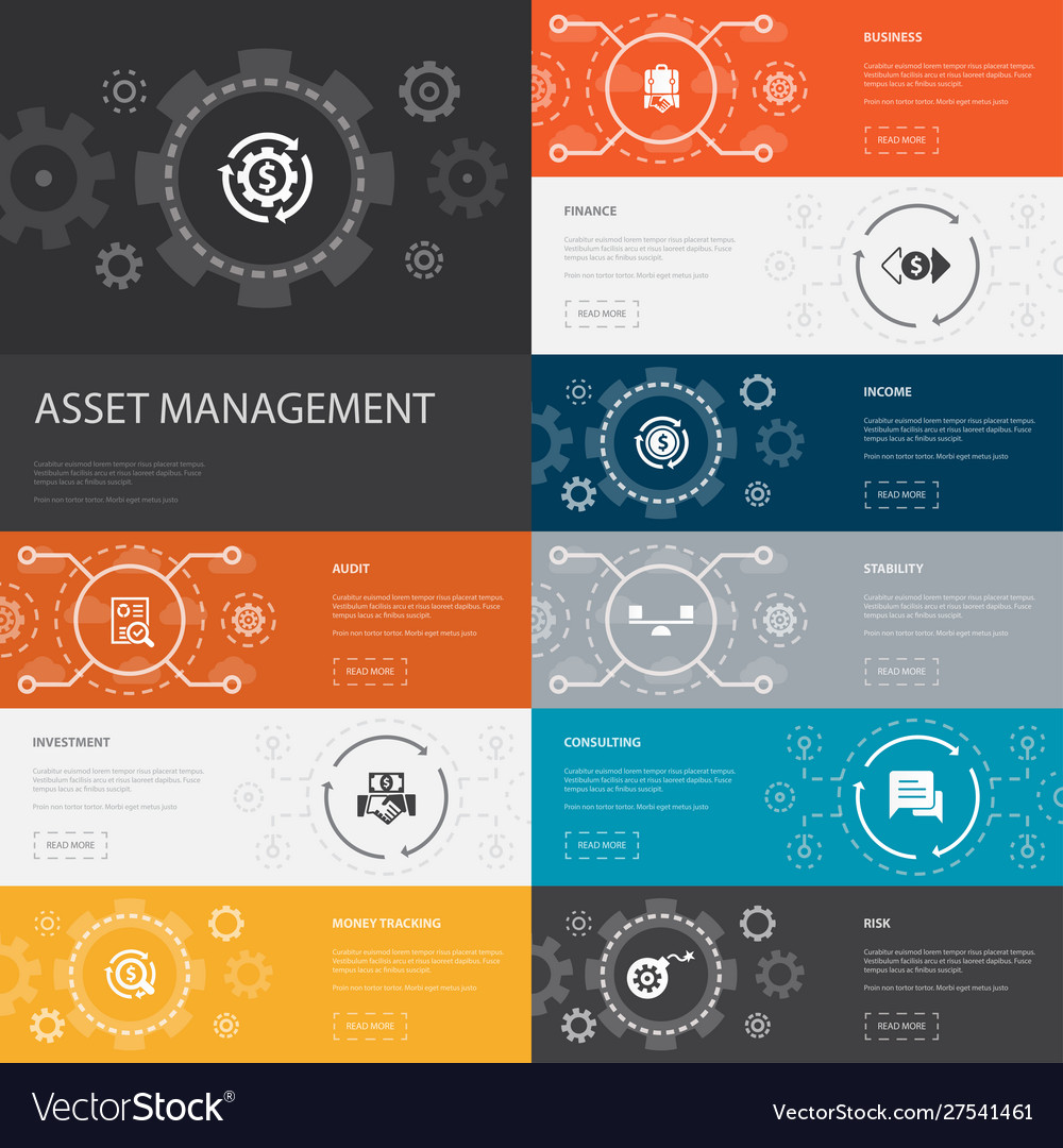 Asset management infographic 10 line icons banners