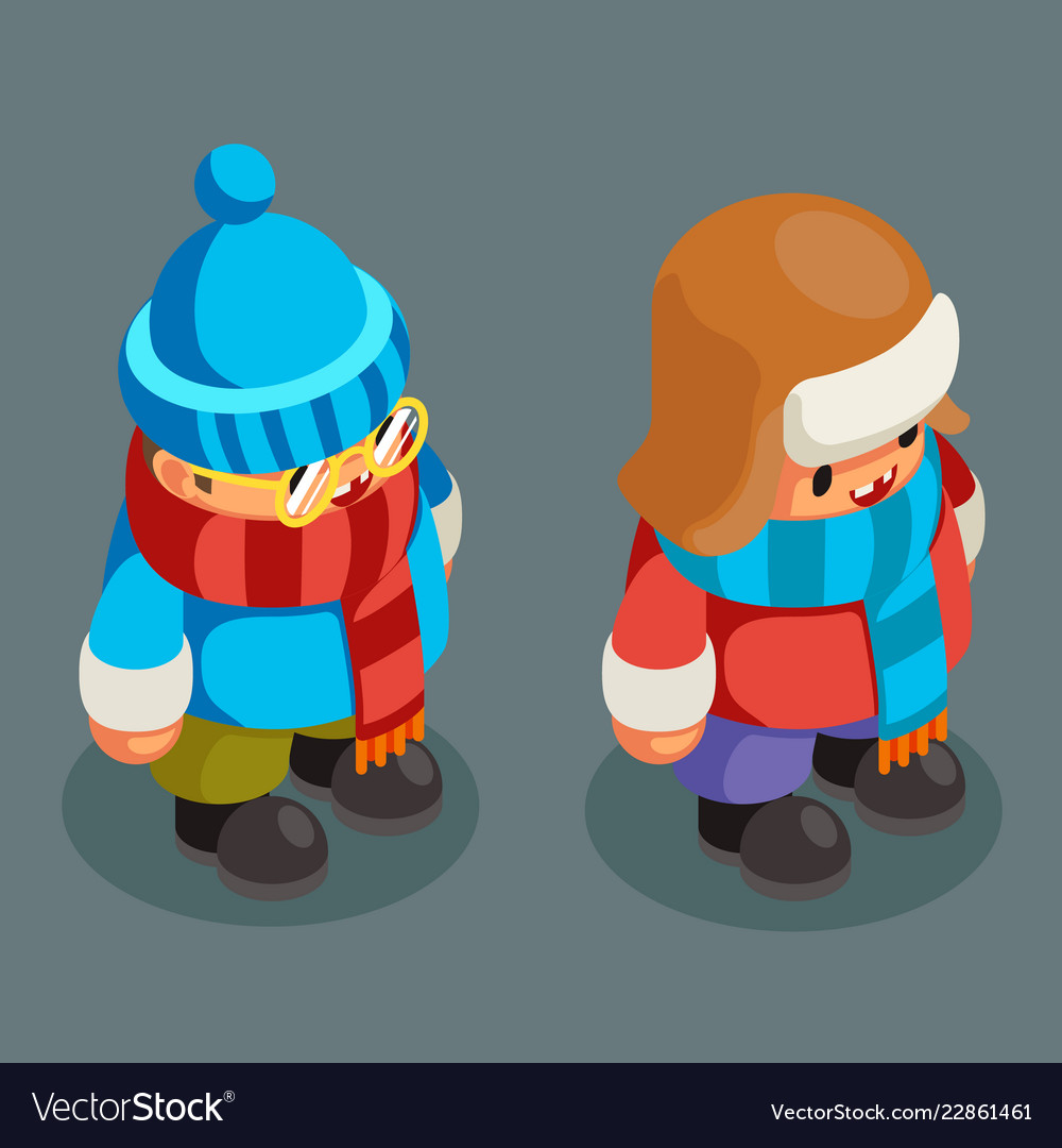 Children winter clothes isometric boy christmas