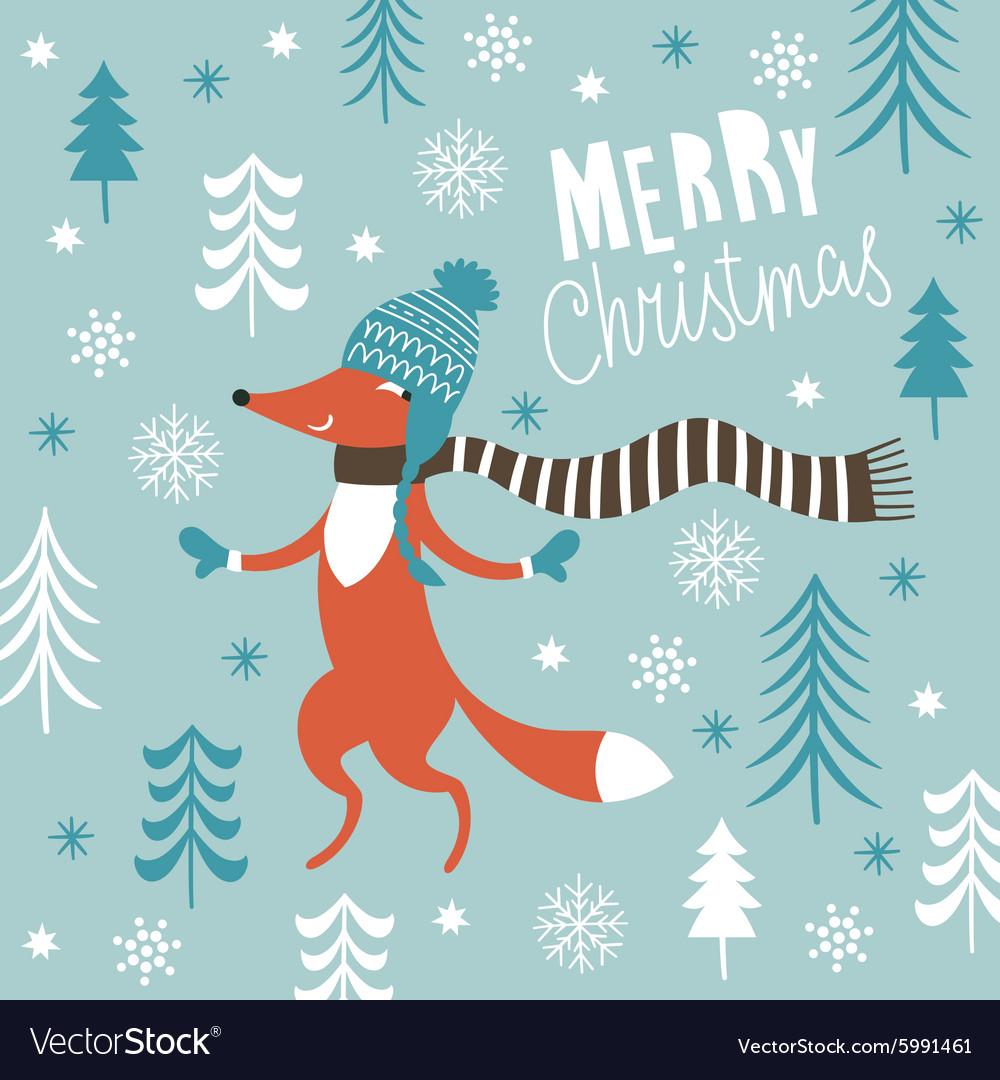 Christmas card with cute fox