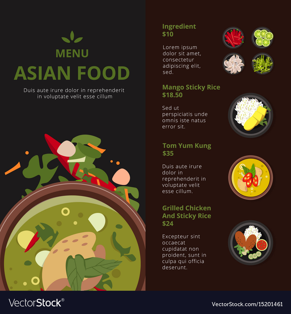 Design Template Of Asian Food Menu Royalty Free Vector Image