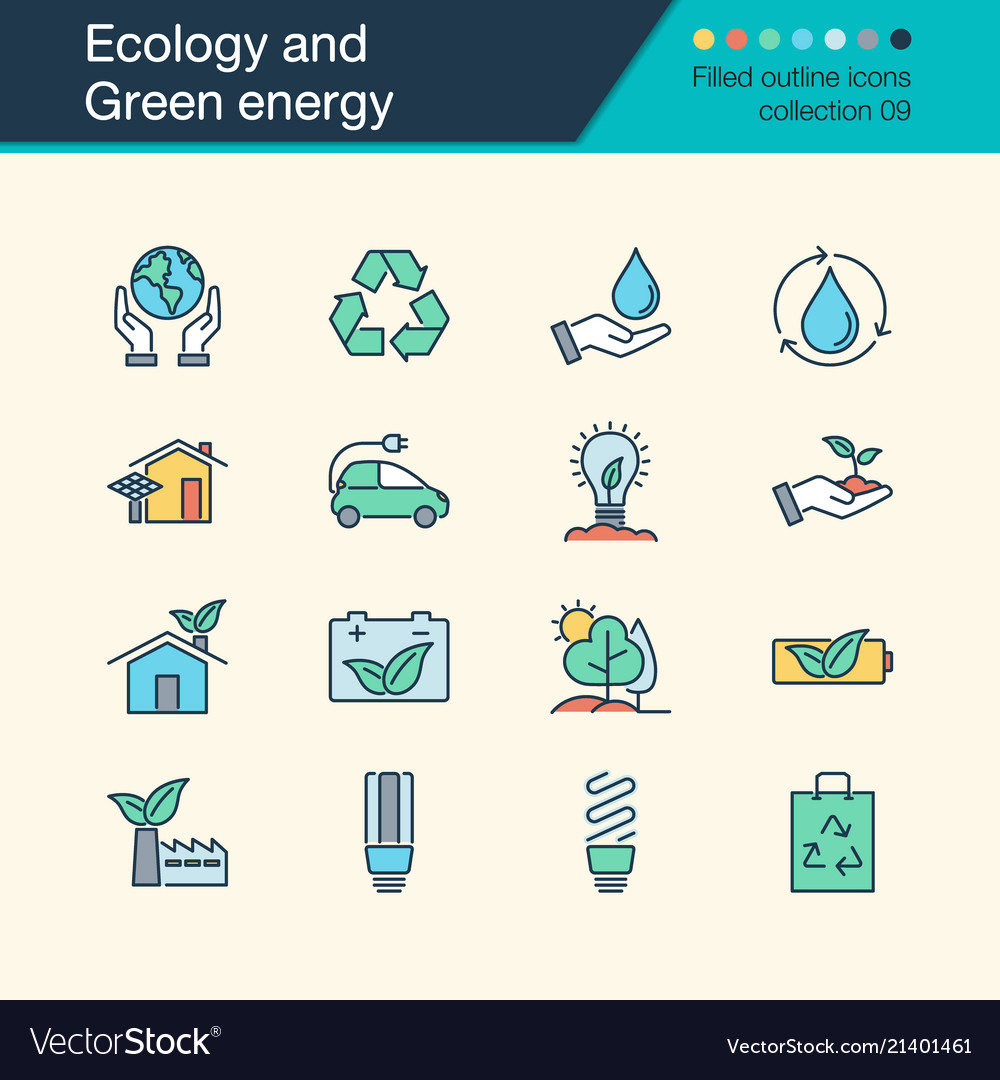 Ecology and green energy icons filled outline