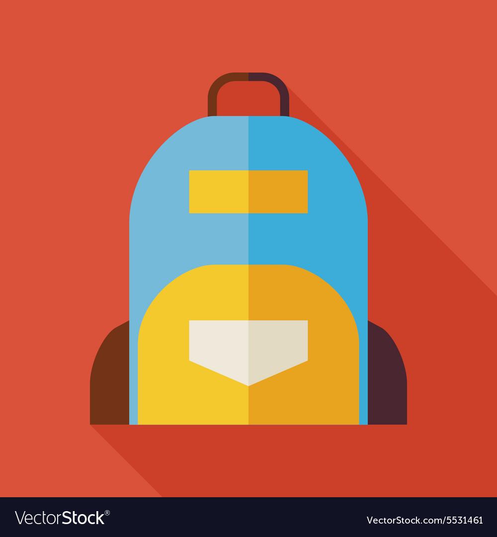 Flat School Bag with long Shadow vector image
