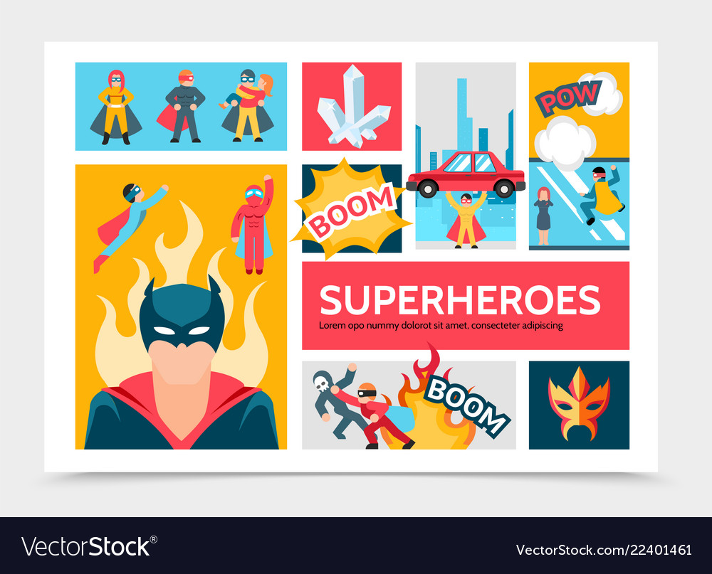 Flat super heroes infographic template