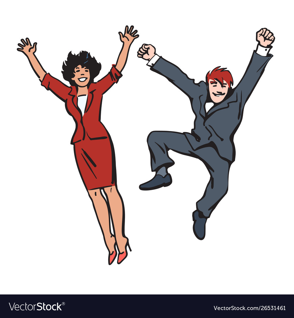 Happy couple jumping and having fun woman and man