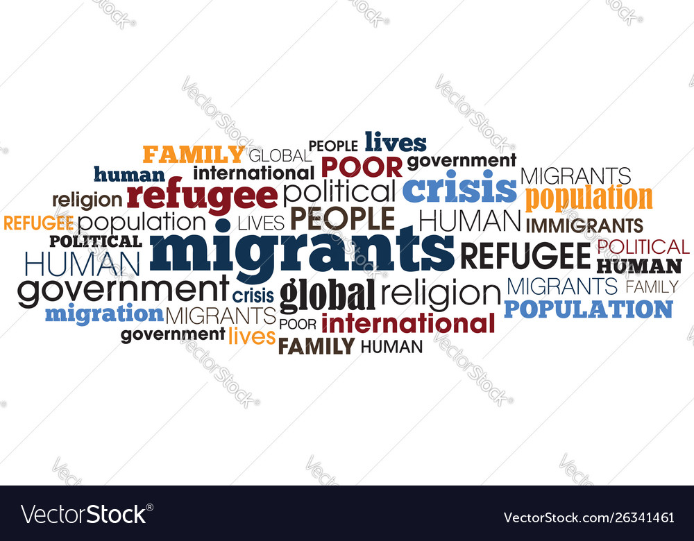 Migrant concept word collage