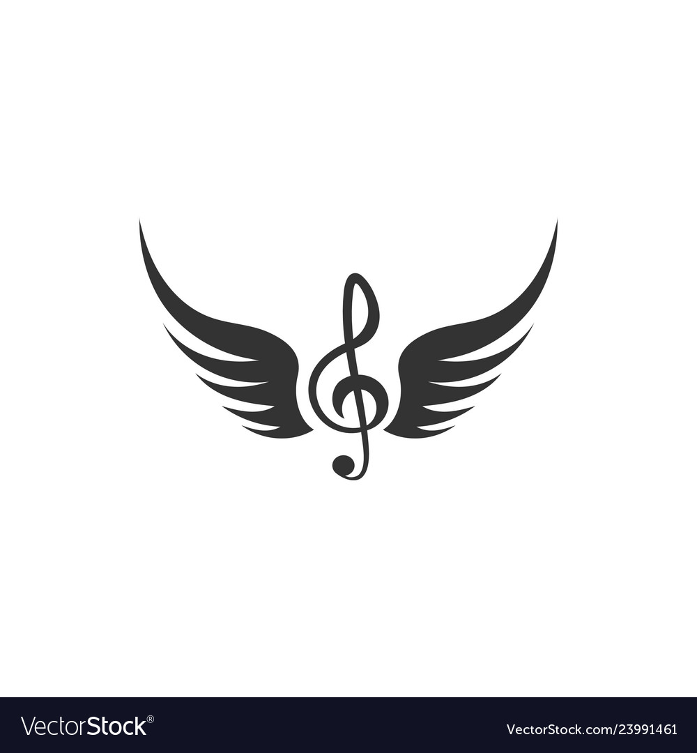 Music note wing icon design template isolated