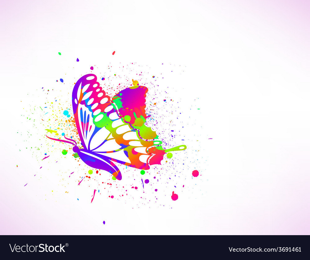 Rainbow ink butterfly on white background