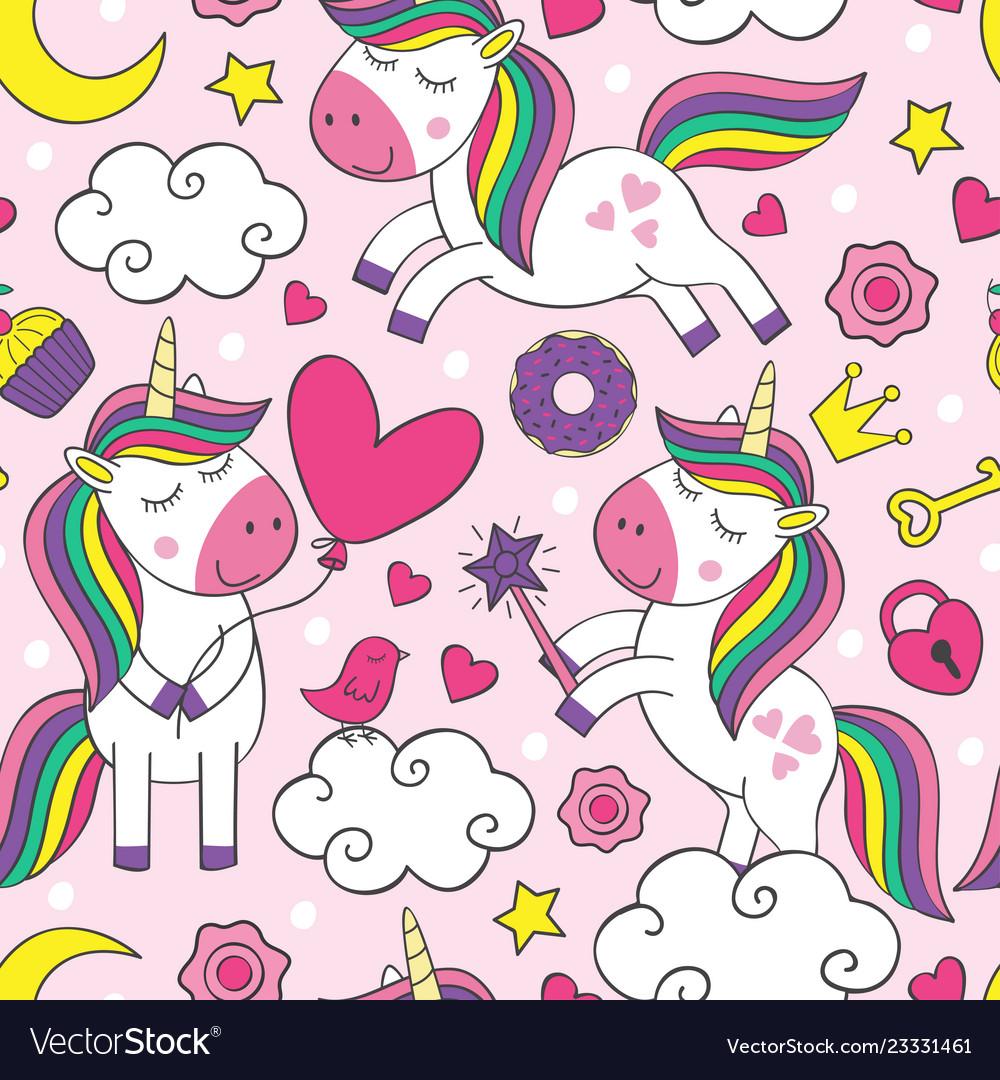 Seamless pattern with beautiful little unicorns