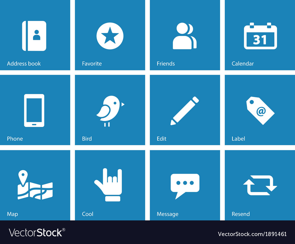 Social icons on blue background