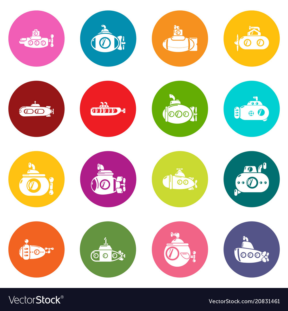 Submarine icons set colorful circles