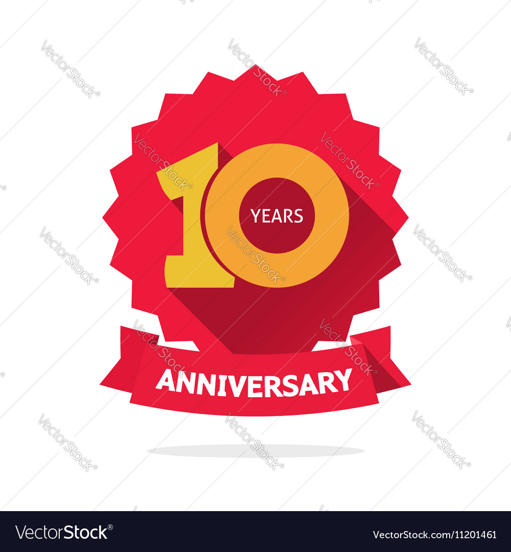 ten year anniversary label 10 years royalty free vector