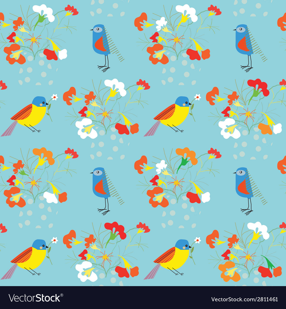 Whimsical floral background with birds for