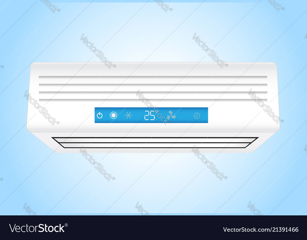 Air conditioner realistic on blue background