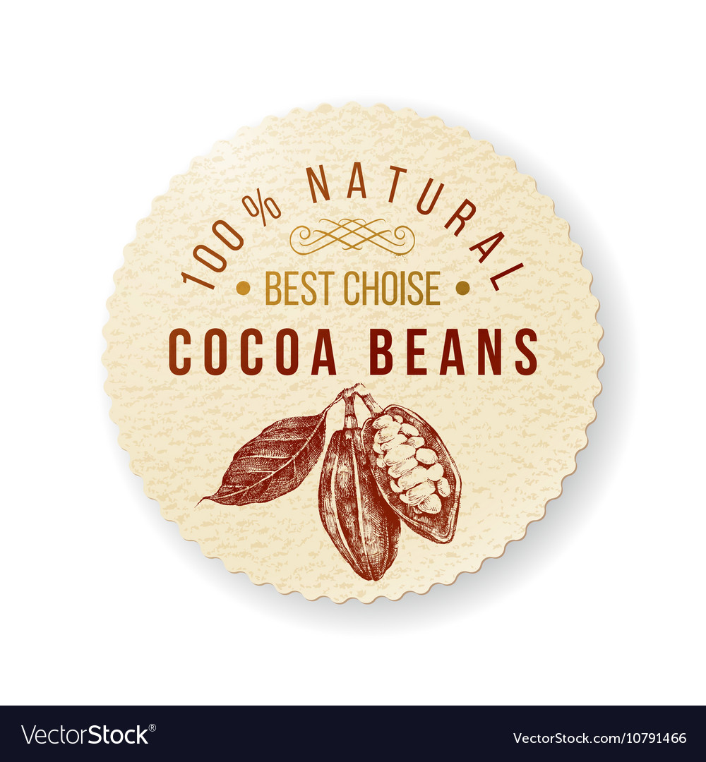 Cocoa round label with type design