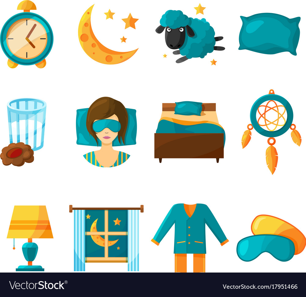 Conceptual icon set of sleeping symbols of