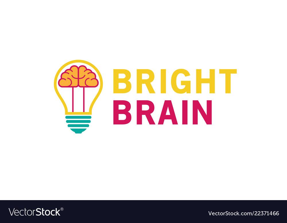Creative lamp bulb brain inside logo