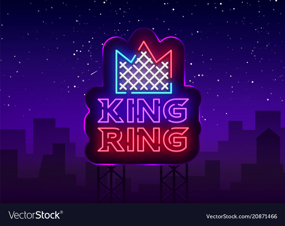 Fight club neon sign king ring logo in neon style