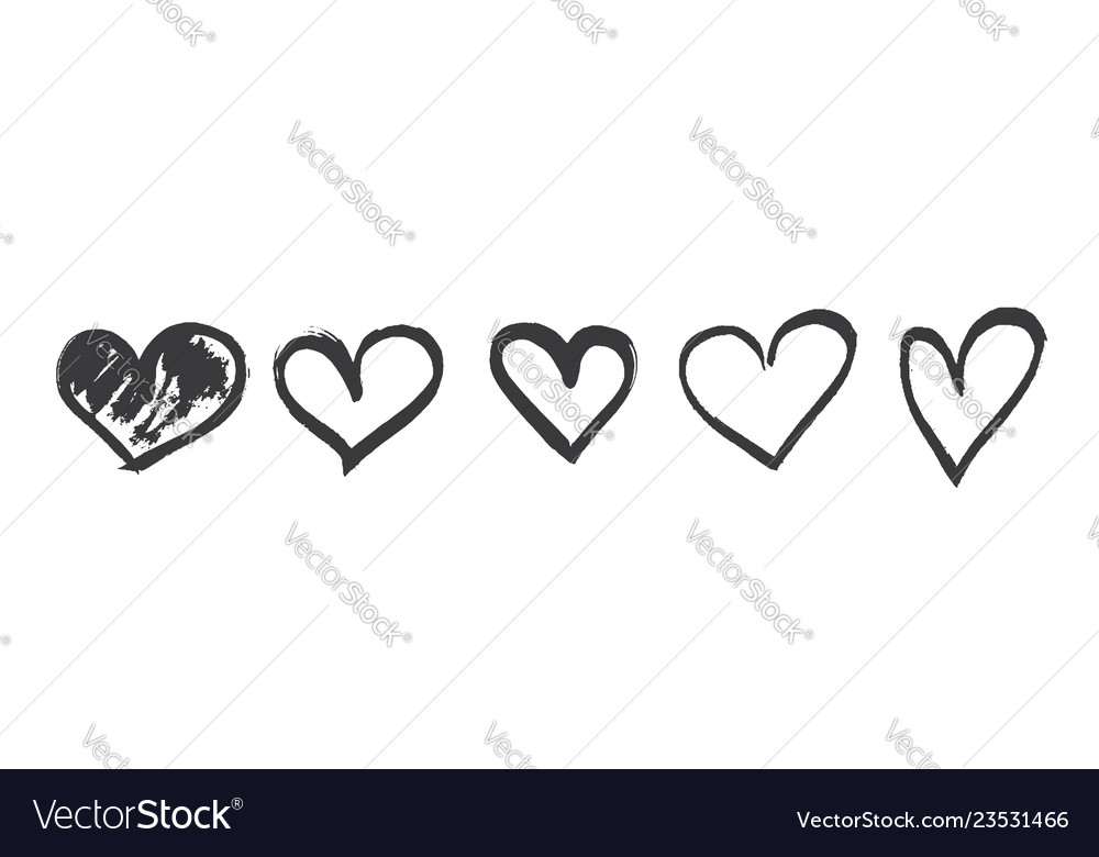 Hand drawn calligraphy heart set isolated on