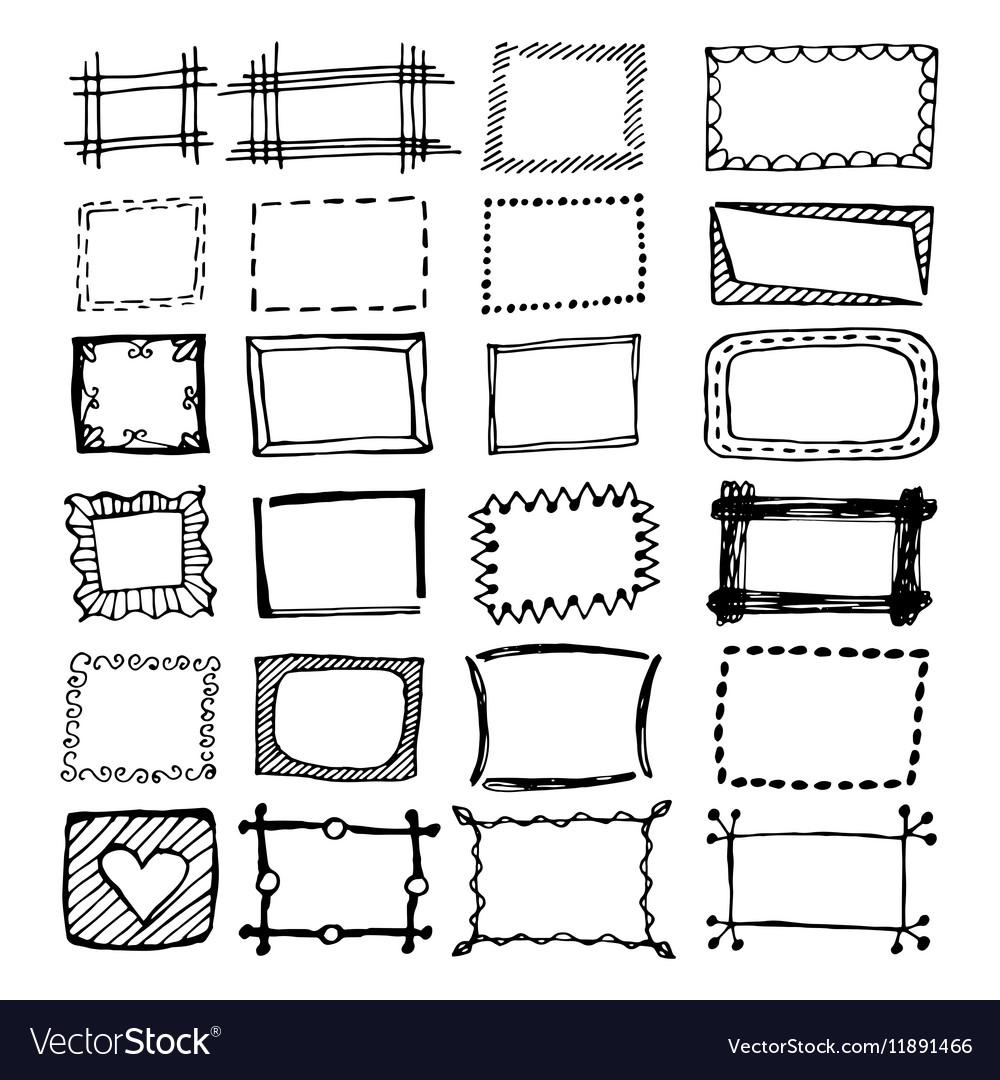 Hand drawn rectangle frames set