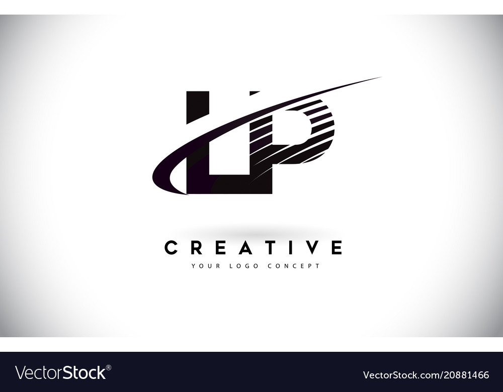 Lp l p letter logo design with swoosh and black