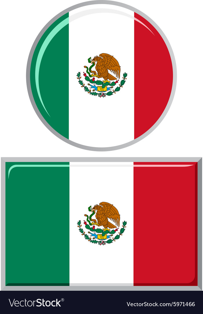 Mexican round and square icon flag