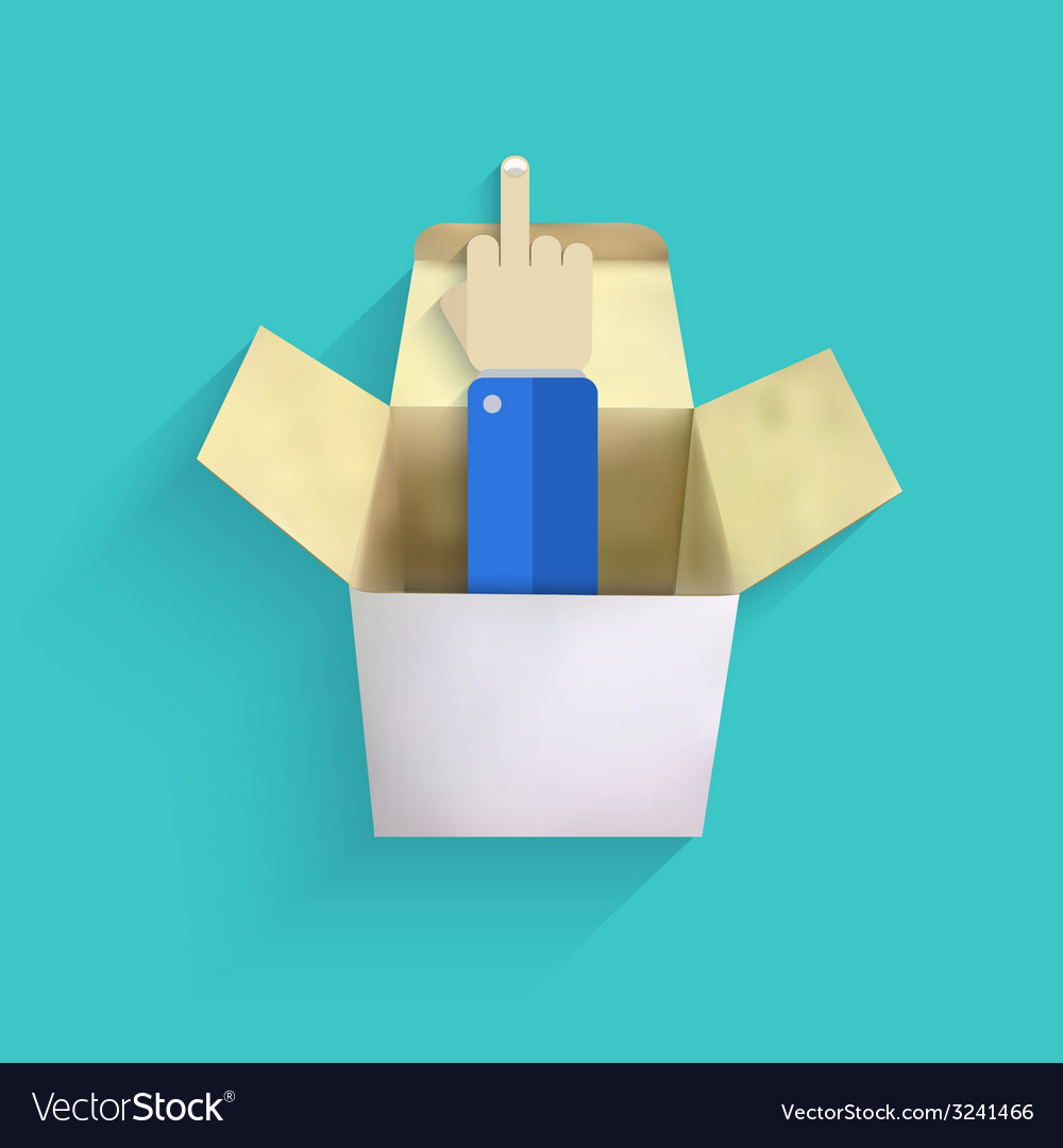 Modern finger up with box