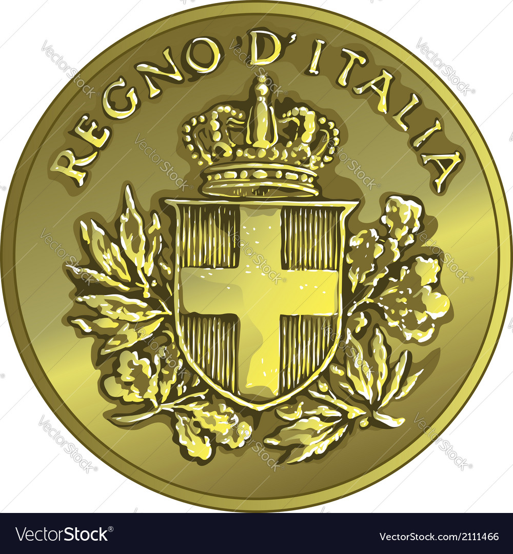 Money gold italian coin twenty Centesimo