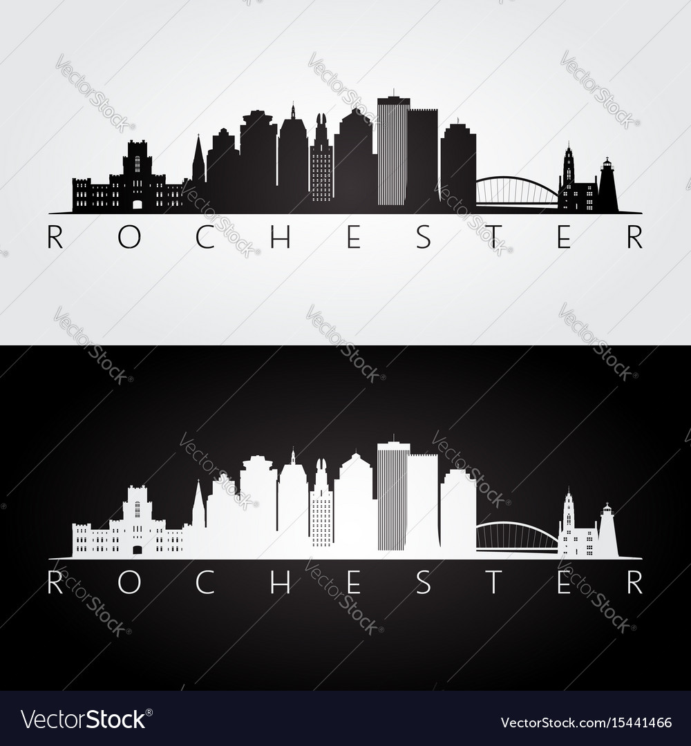 Rochester usa skyline and landmarks silhouette vector