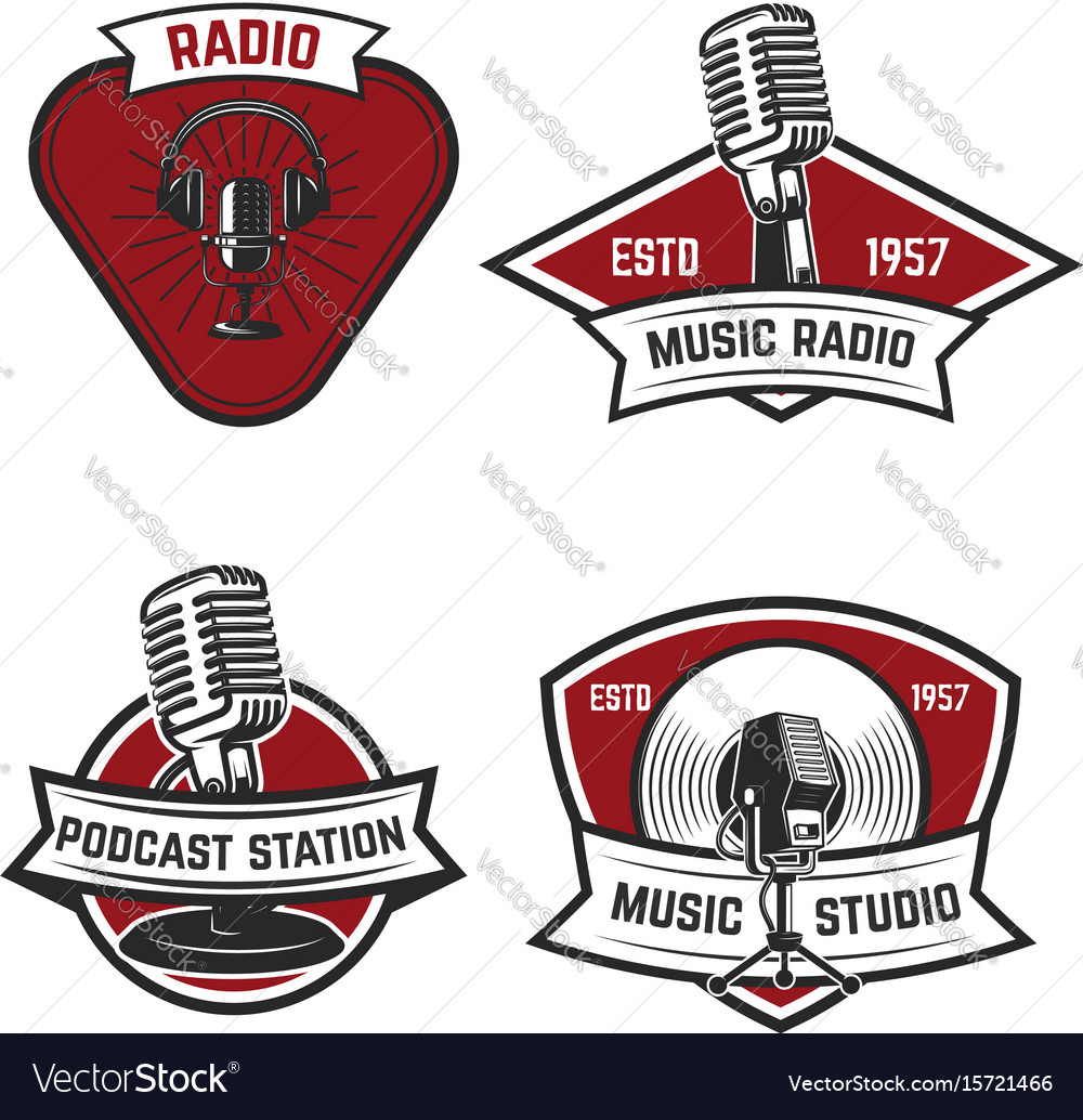 Set of emblems with old style microphone isolated