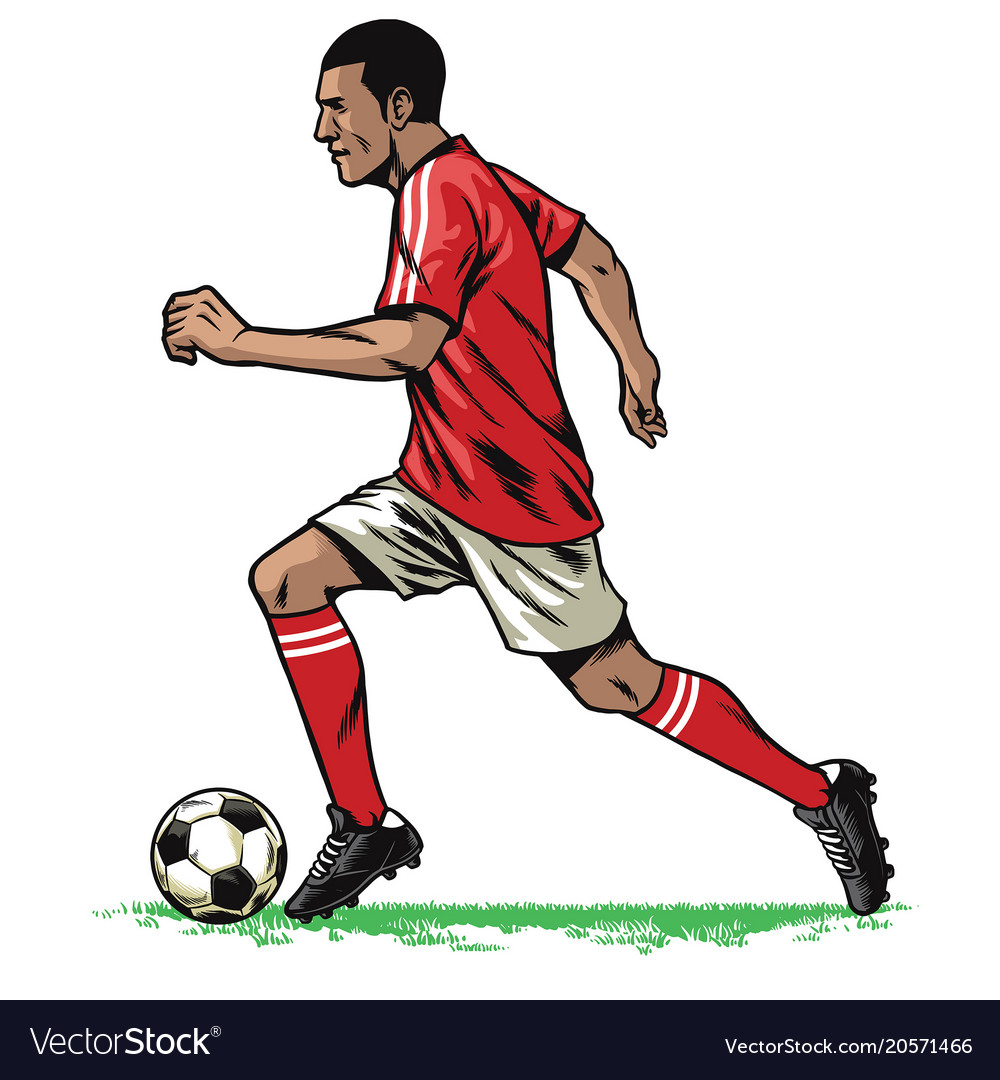 Soccer player retro running pose vector image