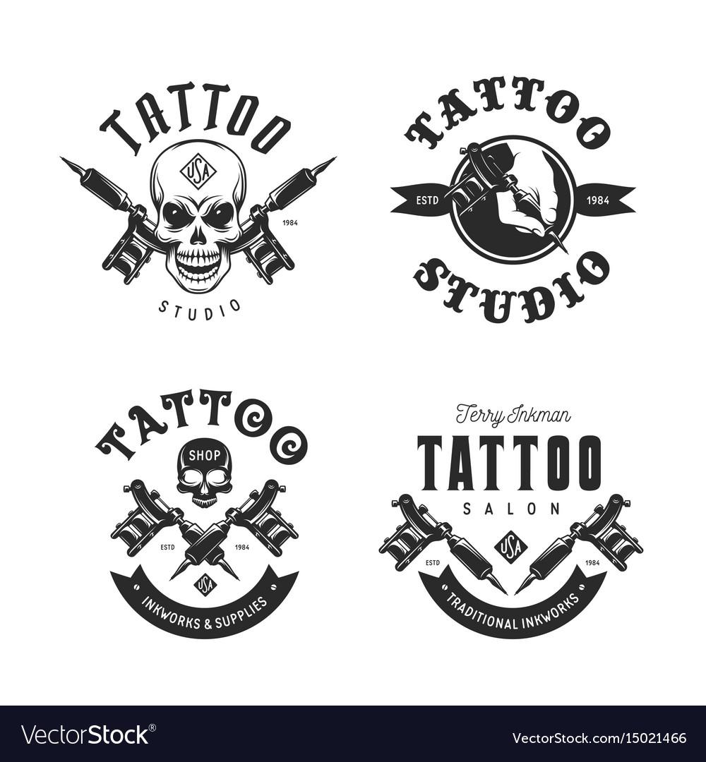Tattoo studio emblems set vintage
