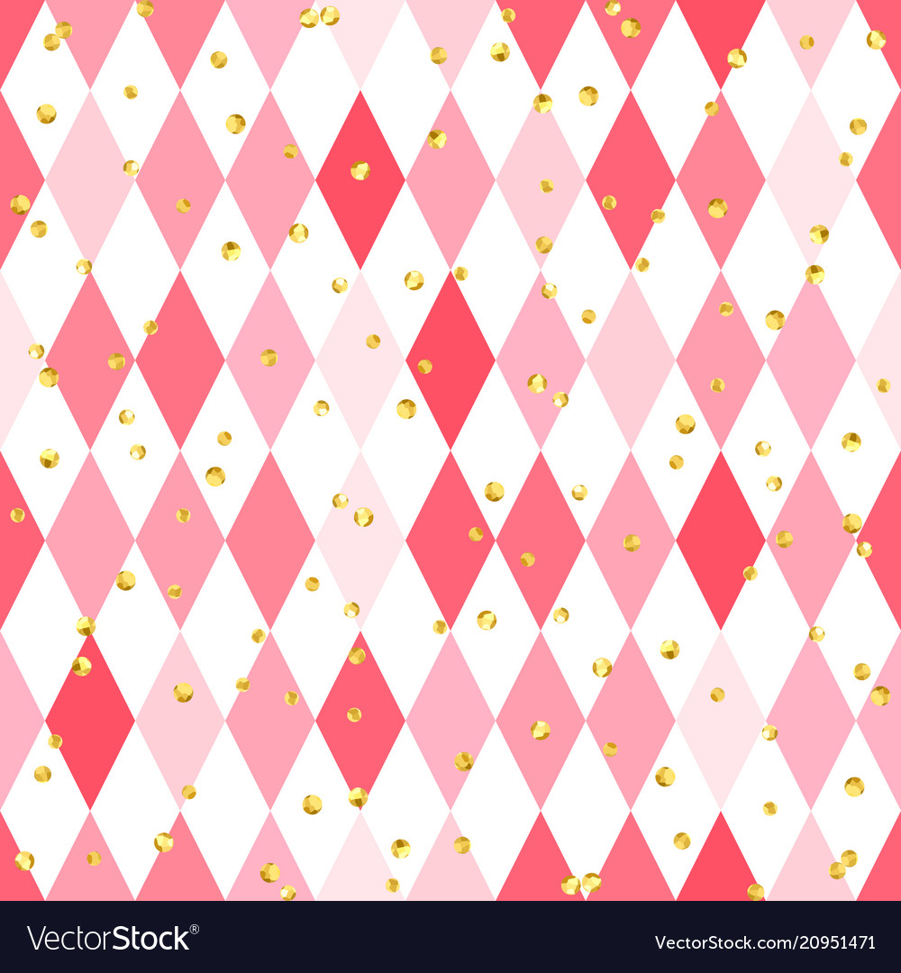Abstract pink seamless pattern with rhombus