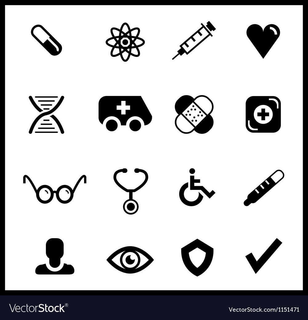 Black medical icon set